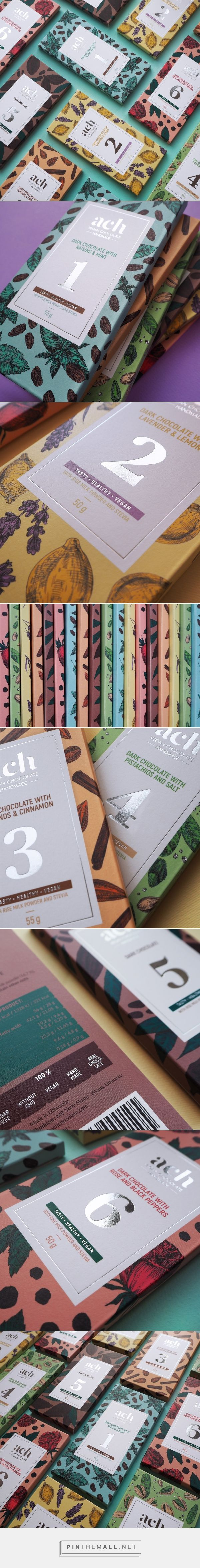 ACH Vegan Chocolate packaging design by Gintarė Marcinkevičienė - http://www.packagingoftheworld.com/2017/10/ach-vegan-chocolate.html