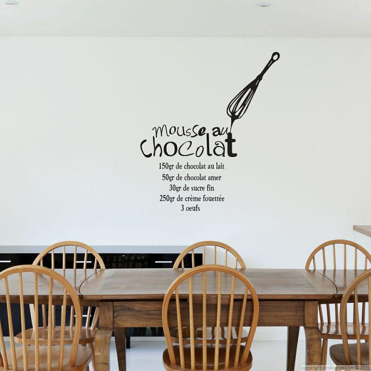 """Sticker recette """" Mousse au chocolat """" - Stickers cuisine   Ambiance-live.com"""