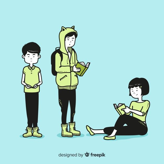 Download Young People Reading In Korean Drawing Style For Free In 2020 Drawings Fashion Drawing Young People