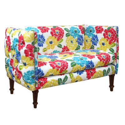 Skyline furniture nail button tufted settee loveseat for Button tufted chaise settee velvet