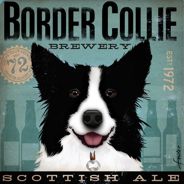 Border Collie Brewing Company Company original illustration graphic artwork on canvas 12 x 12 by gemini studio 12 x 12 bar art. $80.00, via Etsy.