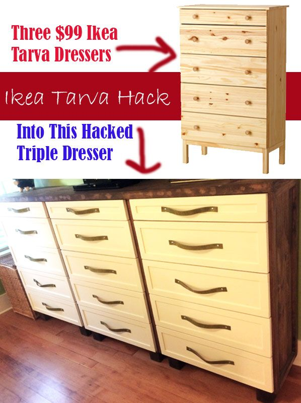 ikea tarva hack into 1 shaker style ish dresser with leather pulls impatiently crafty huis. Black Bedroom Furniture Sets. Home Design Ideas