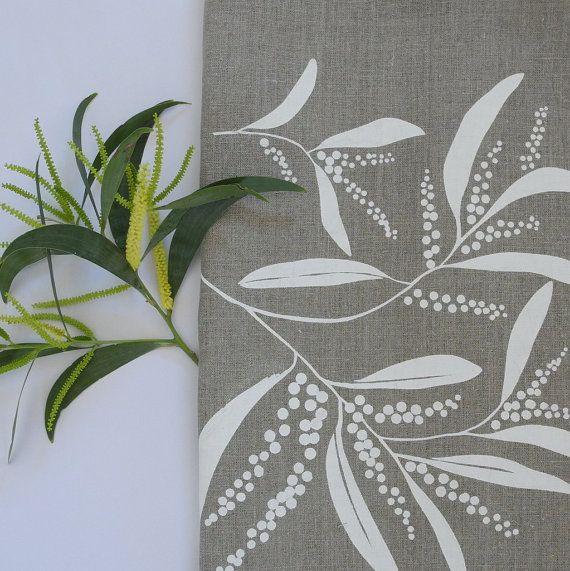 Linen Tea Towel Screen Printed Linen Tea Towel Hand by PalumaPrint