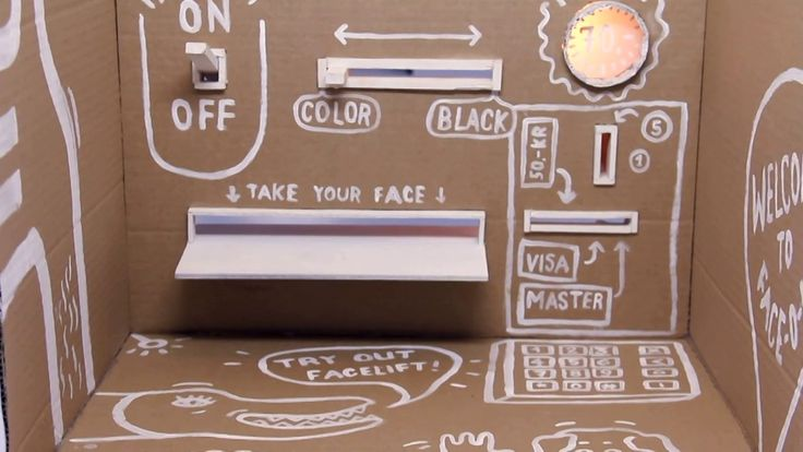 FACE-O-MAT – Your Face in 3 Minutes!. Face-o-mat The machine out of cardboard creates a humorous interactive experience. It's an analogue portrait machine with a photo booth principle. The backend of Face-o-mat is covered with reference images to create a facelift. Through the facelift, one can be drawn as an animal hybrid or one can choose to simply get a really nice portrait. This video shows a summery of Face-o-mat's tour during Stockholm's guerrilla design week 2013, which was organized…