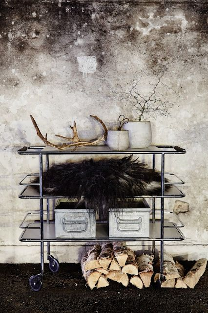 totally useless but lovely collection of objects, bar cart, storage, wheels, wood, firewood, fur, antlers, potted plants, concrete, vignette, details from: Inger Johanna: Today