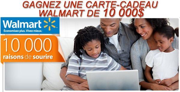 Concours Walmart Carte Cadeau de 10 000$ à Gagner