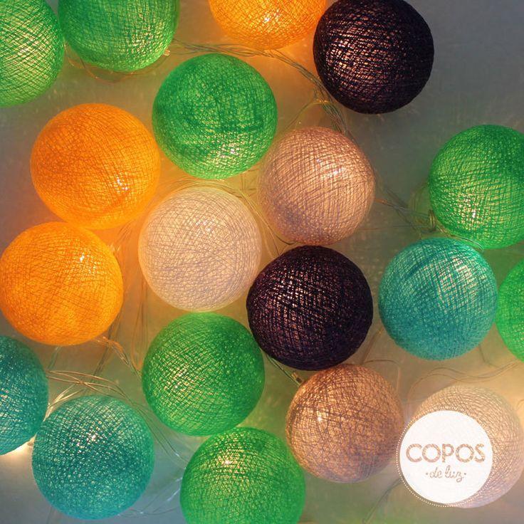 Guirnalda tam coc bolas de hilo y luz artesanales - Bolas de hilo ...