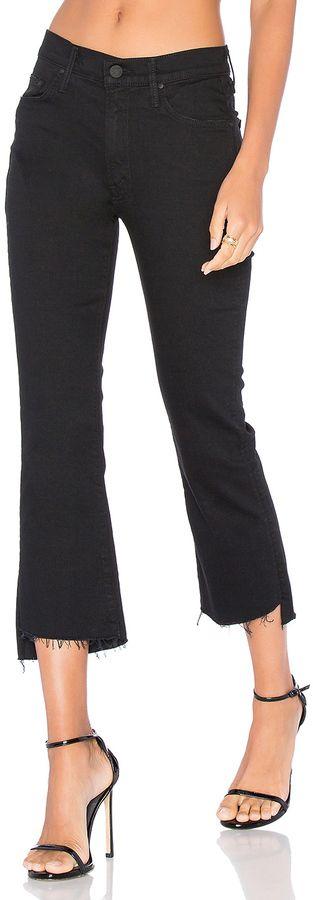 Mother Insider Crop Step Fray Black Jeans on ShopStyle
