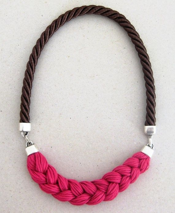 statement rope necklace in fuchsia pink and dark chocolate brown- braided rope necklace in hot pink and brown