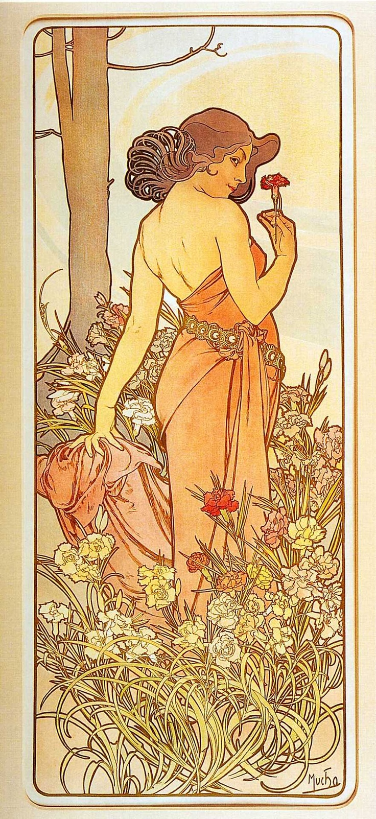 The way the flowers are painted in this one is perfect. [[CARNATION - The Flower Series, Alphonse Mucha, 1898]]