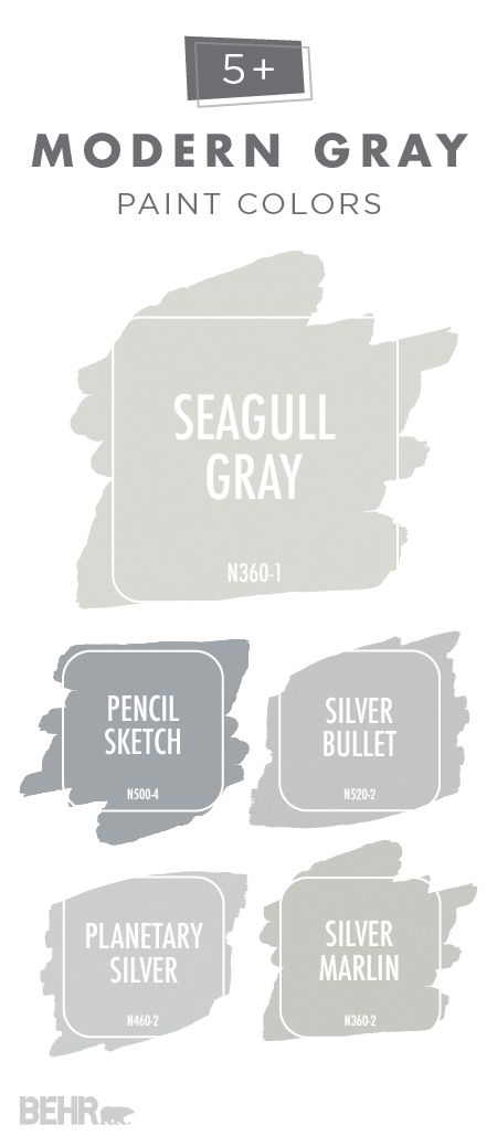 Bring your home into the twenty-first century with this collection of modern gray paint colors. Use warmer greige hues, like BEHR Paint in Seagull Gray and Silver Marlin, to create a cozy, inviting feel in your home. You could even pair cooler-toned grays, like BEHR Paint's Pencil Sketch, Silver Bullet, and Planetary Silver, with blues and whites to create a classic coastal style.