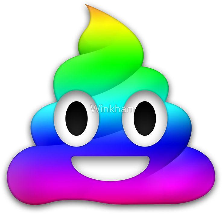 "Rainbow Smiling Poop Emoji"" Stickers by Winkham | Redbubble"