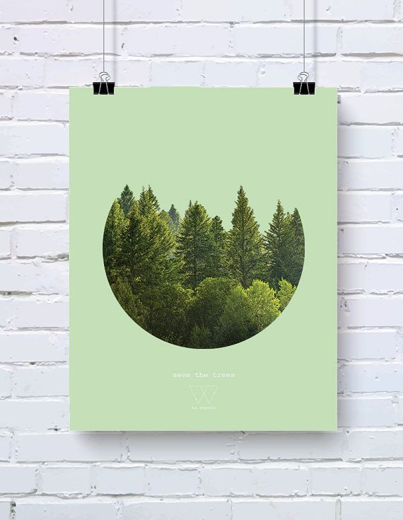 Save the Trees poster - Save the planet series - 10% of profits go to WWF - size A3 (29,7 x 42 cm)