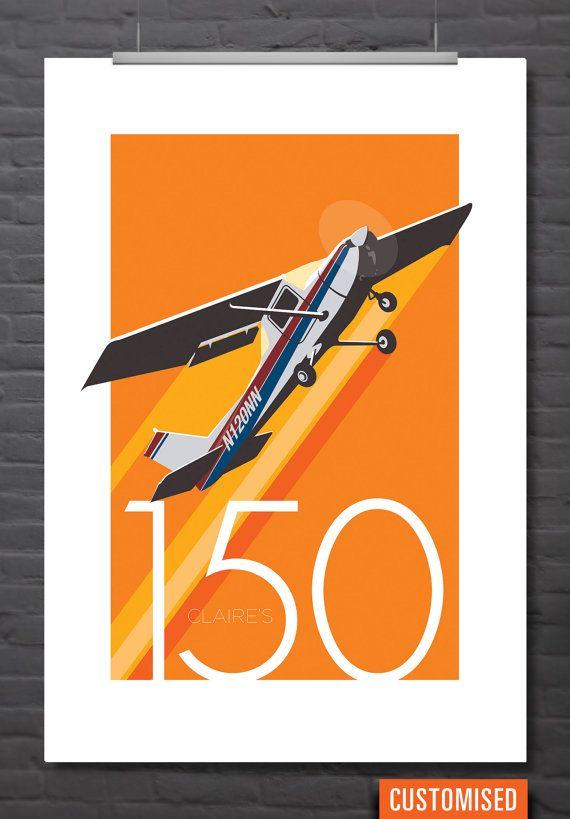 Retro aircraft print: Cessna 150 customizable by P26Design on Etsy