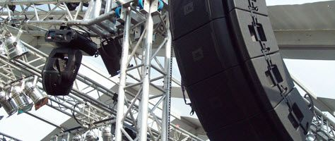 """Line array systems are best used for Big concerts and outdoor staged events! 18"""" JBL VRX subwoofers!"""