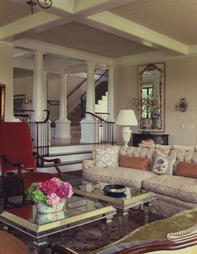 I love these columns inside a house will keep in mind for living room!