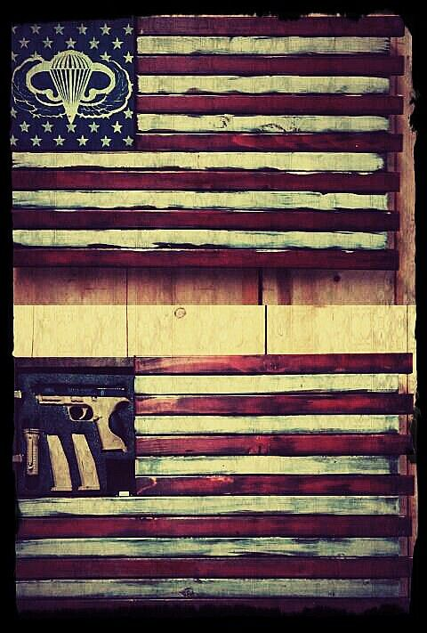 Airborne American Flag Home Defense Concealment Art