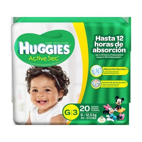 Huggies Active Sec G/3 Maxi Proteccion Duradera 20 unidades.