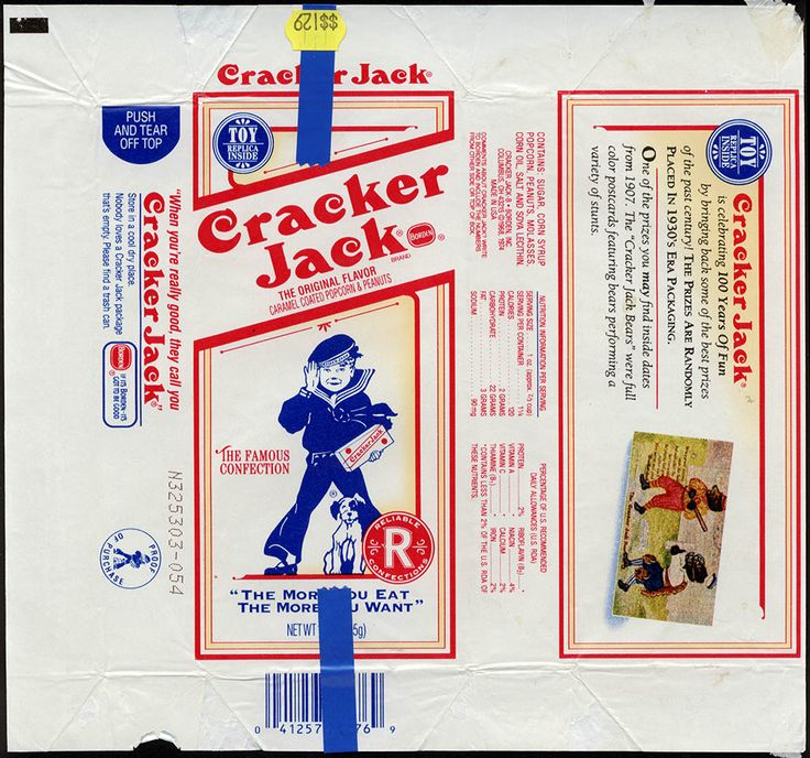 CC_Borden - Cracker Jack - Nostalgia package wrapper - Bear Postcard alt - late 1980's