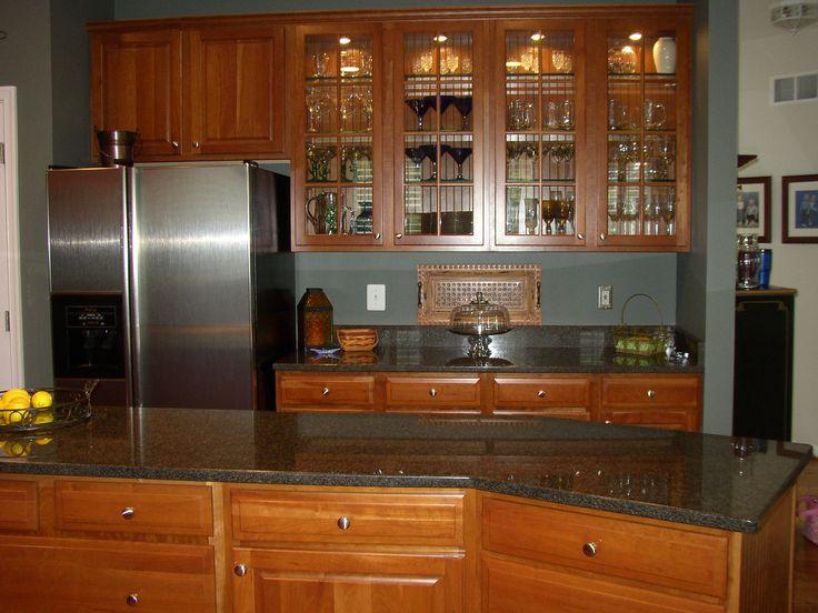Yorktowne Avondale Cherry Honey Cabinets Impala Black Granite Countertops Future Home