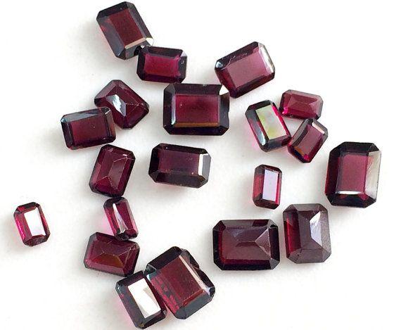 WHOLESALE 10 Pcs Garnet Emerald Cut Gemstones by gemsforjewels