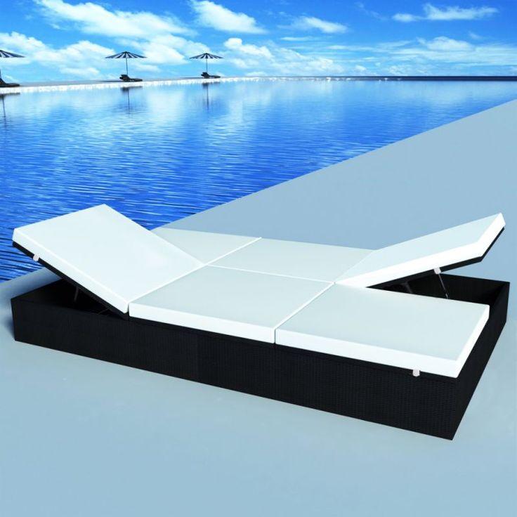 Adjustable Double Day Bed in Black PE Rattan Wicker | Buy Furniture