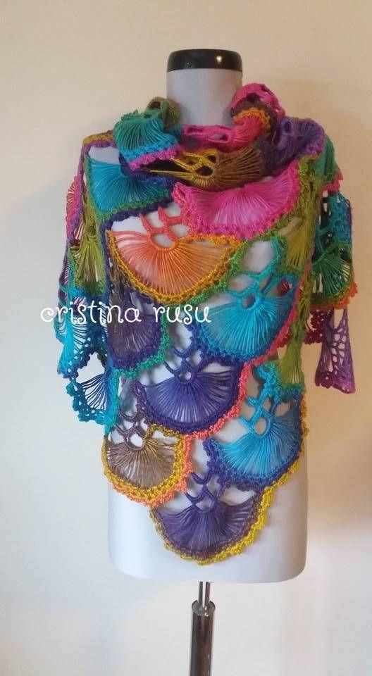 Crochet rainbow shawl scarf wrap in multicolor and soft yarn /