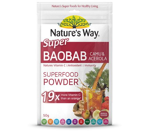 This potent Baobab fruit is combined with Camu Camu and Acerola.