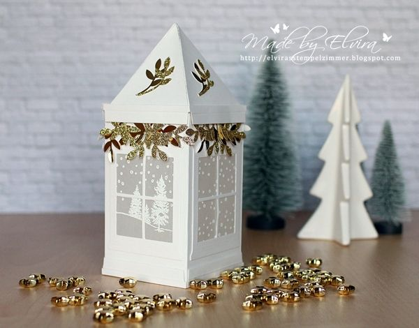 Christmas lantern stamped with the stamp Happy hours from Stampin Up!