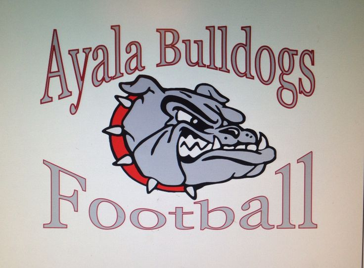 Ayala Bulldogs Football with a Bulldog Head. Made for Ayala High School. Created by I.C.D. Infinity Custom Designs.