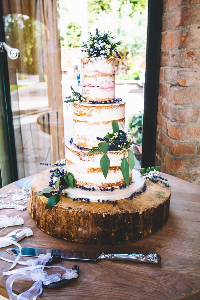 Naked Wedding Cake with Lavender