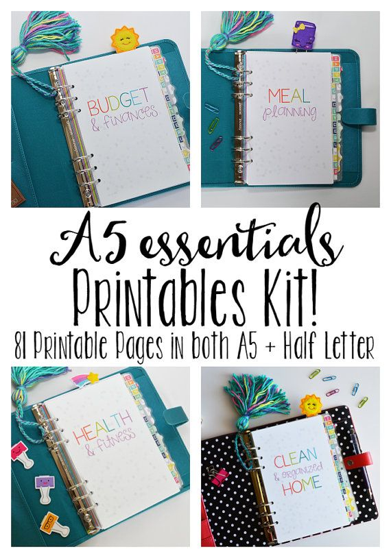 50% OFF SALE A5 Printable Planner, Printable Inserts, Meal Planning, Cleaning, Budgeting, & Fitness Inserts! 81+Pages!!