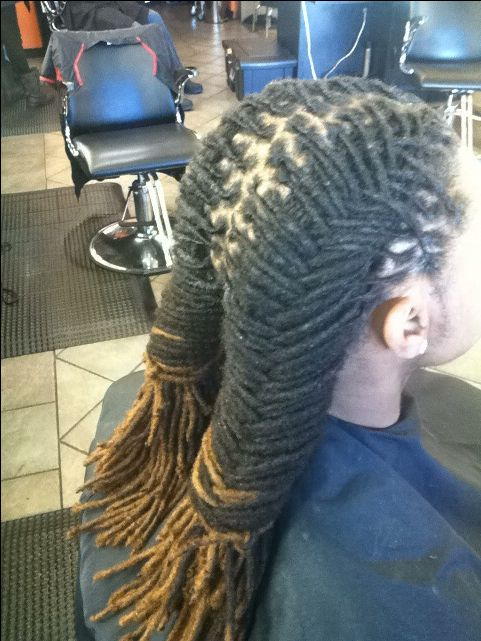 Fishtail Braid On Men's Locs.