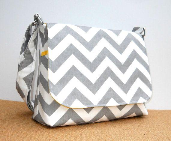 Gray Chevron Handbag Women's Messenger Bag by JHFabricCreations