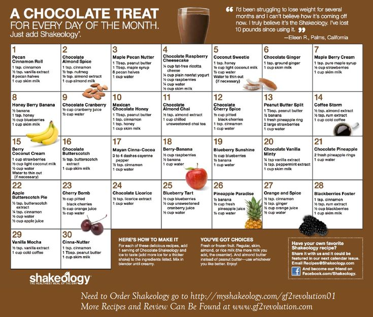 """Chocolate Shakeology Calendar- 30 more recipes to try another 30 days! Best """"Cheat"""" Meal of the day!"""
