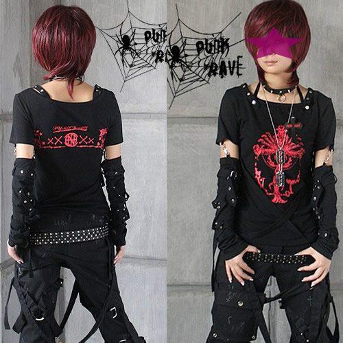 I sooo want to dress like this! Black Punk Rock Emo Cyber Goth Clothing T Shirts Tees 2Pc