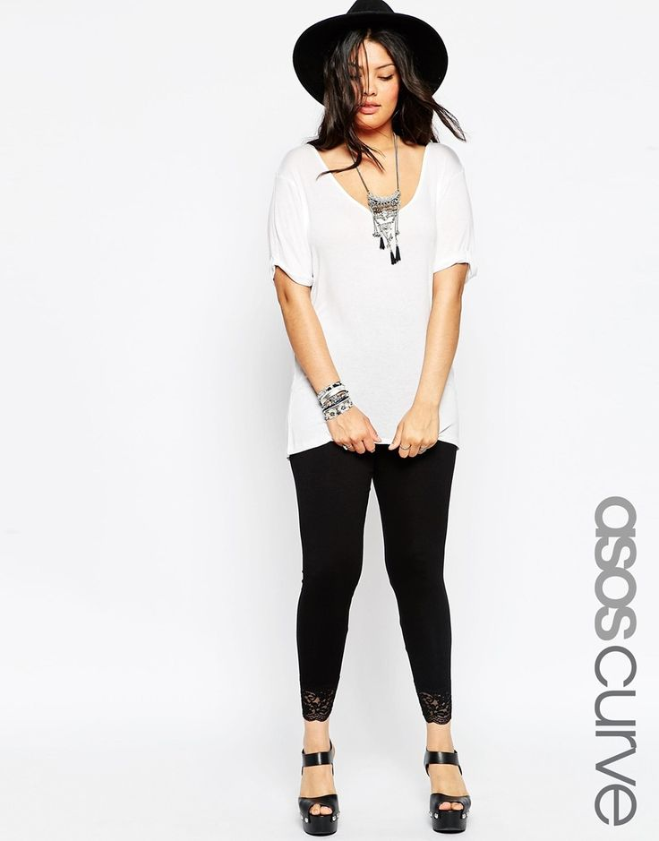 ASOS CURVE Leggings with Lace Hem