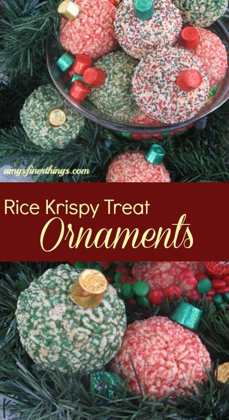 Yes you can knock their socks of with these Rice Krispy Treat Ornaments!