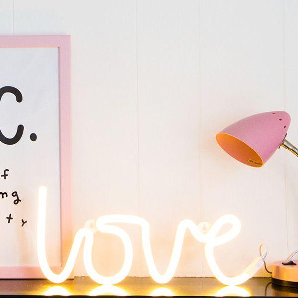 A Little Lovely Company - Neon stijl lamp - Love - geel
