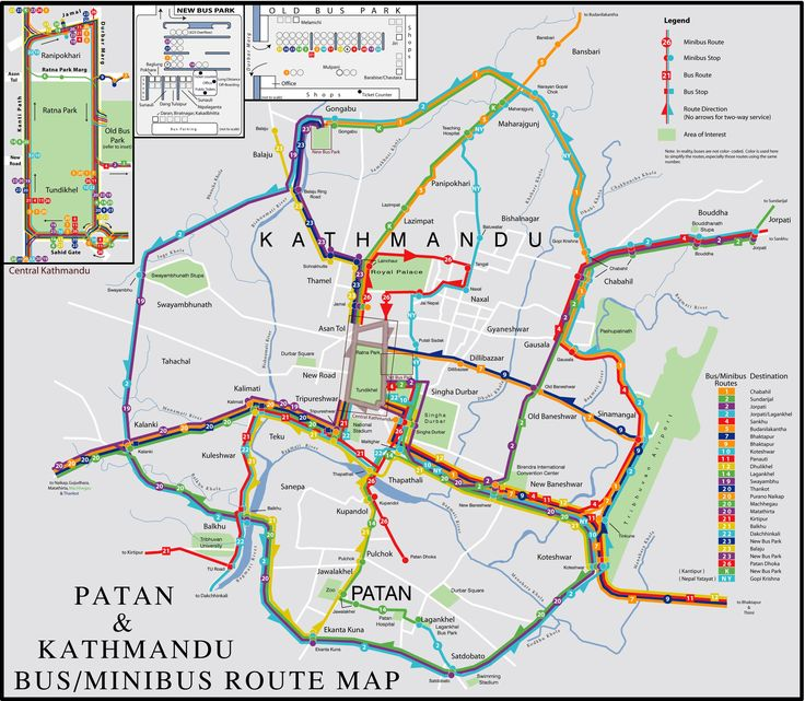 Bus Map for two of Kathmandu Valley's cities: Kathmandu proper and ...