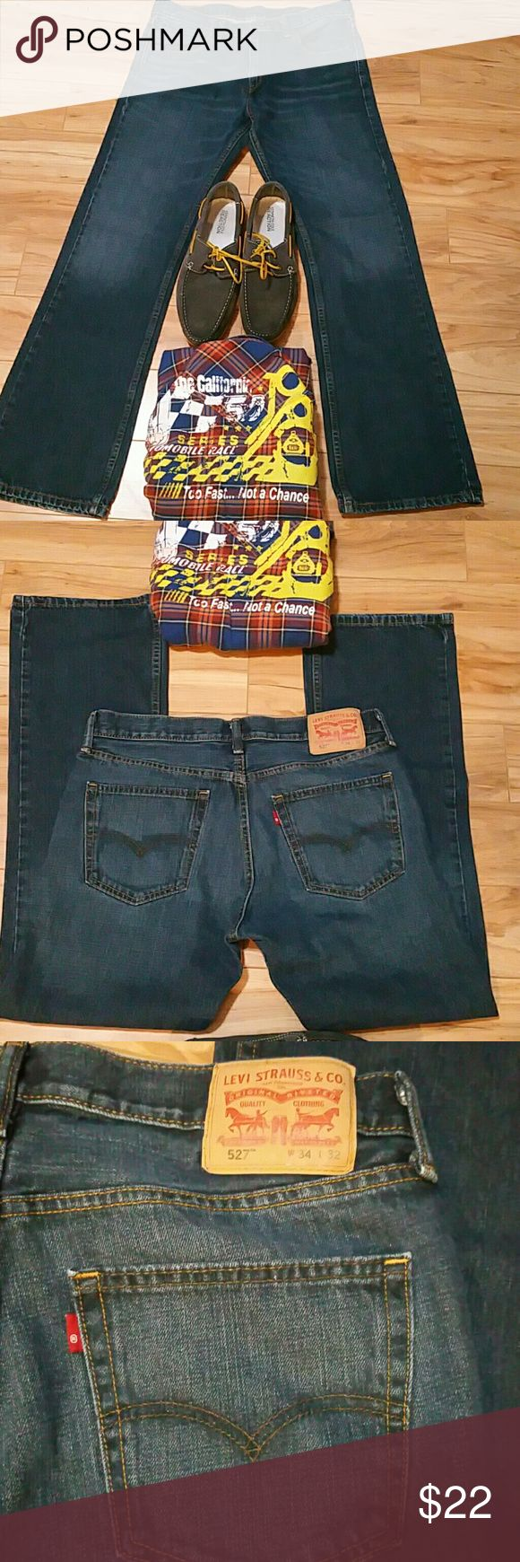Levis 527 Bootcut jeans size 34 x 32 Levi's 527 slim boot cut jeans have a lower rise, are slim in the seat and thigh, and boast a boot cut from knee to ankle. NWOT Levi's Jeans Bootcut