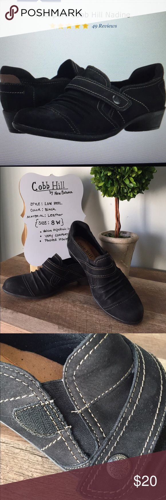 "Cobb Hill Nadine Black Leather Bootie EUC Full grain leather upper. Dual gore panels and a Velcro strap for easy on and off.  Heel 1 1/4"" high. Durable rubber soles. Looks cute with jeans and skirts. Incredibly comfort and you will like the arch support. My favorite brand of shoes for those days you will be on your feet all day. New Balance athletics made these shoes. Cobb Hill Shoes Ankle Boots & Booties"