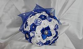 Kytice pre nevestu - Kráľovská modrá saténová kytica - 6756911_