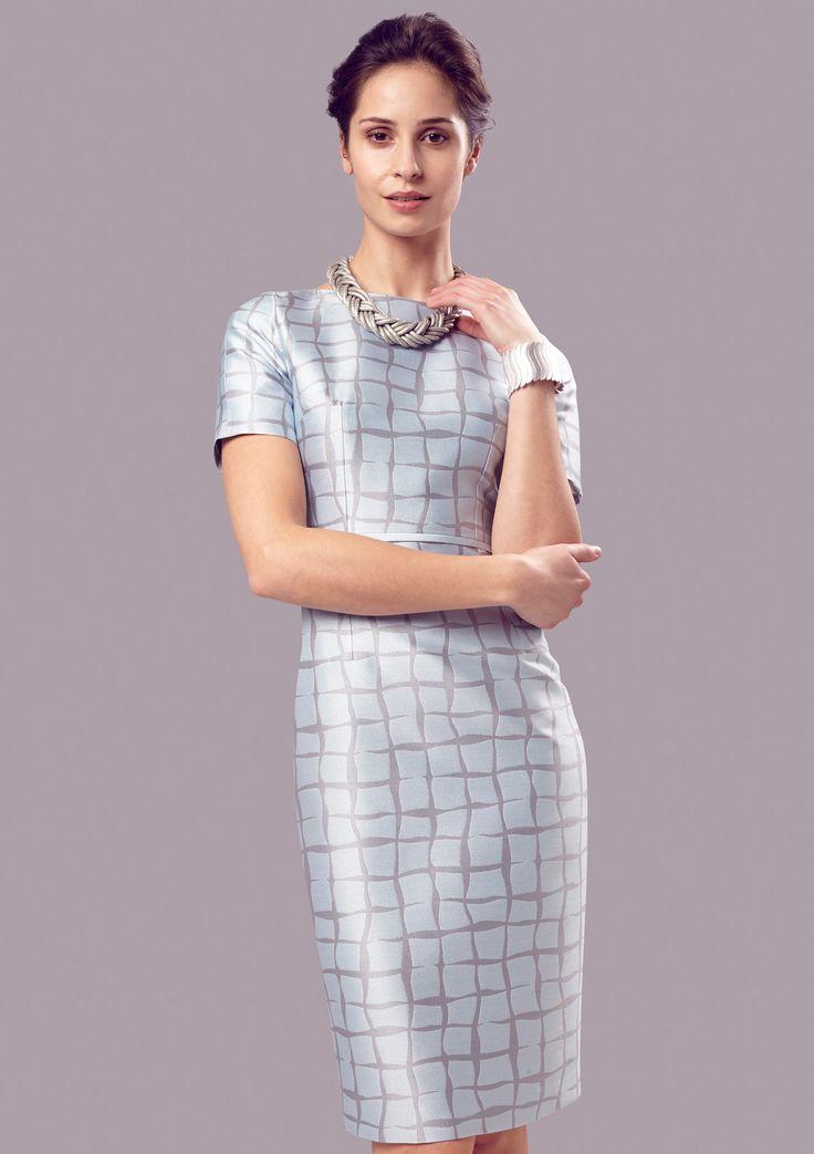 Silk jacquard dress in sky/grey - Angie