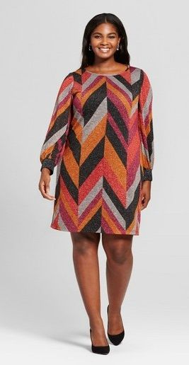 Plus Size Chevron Print Dress