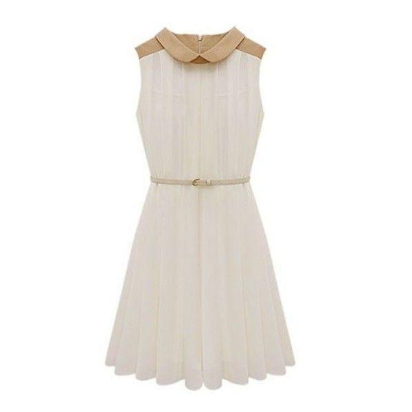 Apricot Sleeveless Belt Pleated Chiffon Dress ❤ liked on Polyvore featuring dresses, sleeveless dress, sleeveless pleated dress, white dress, sleeveless chiffon dress and white sleeveless dress