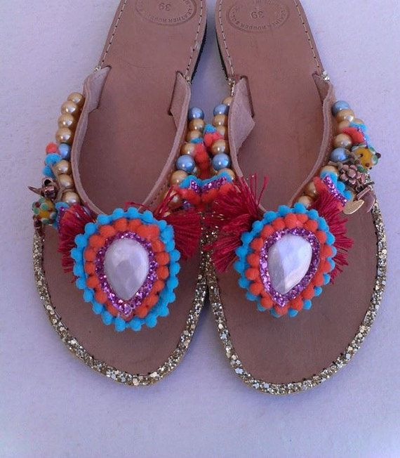 Shiny boho sandalsGreek real leather''BOHO  by boutiqueofsandals