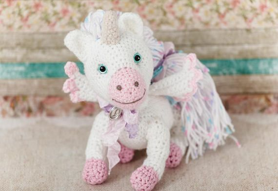 The White Pink #Unicorn is made by hand from ecological wool: White and Pale Pink color. The Knitted Unicorn Toys has a name that is given by the author. The Stuffed Unicorn... #etsy #crochet #animal #knit #toy #handmade #gift