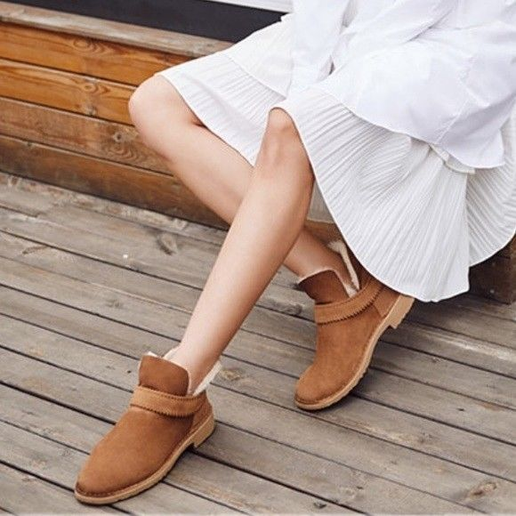85686613cb7 UGG AUSTRALIA Boots Mckay Uggs Leather Shearling Brown Ankle Booties ...