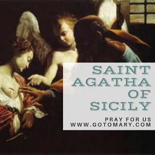 The 5th of February is the feast day of Saint Agatha of Sicily. She is the patron saint of Sicily; bellfounders; breast cancer; bakers; Catania, Sicily; against fire; earthquakes; eruptions of Mount Etna; fire; jewelers; martyrs; natural disasters; nurses; Palermo, Sicily; rape victims; San Marino; single laywomen; sterility; torture victims; volcanic eruptions; nurses; wet nurses; and Zamarramala, Spain. #saint #saints #saintoftheday #catholic #catholicsaint #catholicsaint